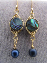 Load image into Gallery viewer, Delicate Gold and Abalone and Pearl Earrings