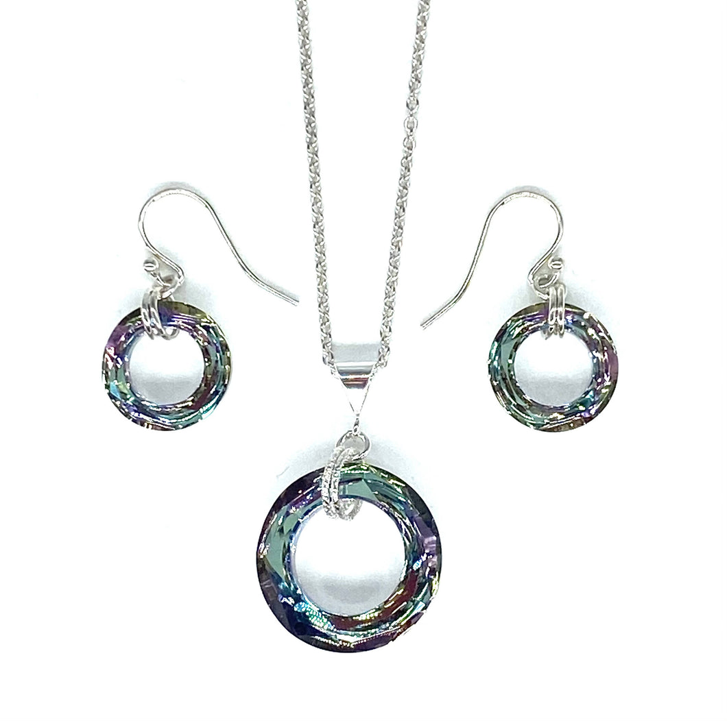 Cosmic Vitrail Necklace and earring set
