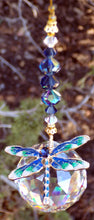 Load image into Gallery viewer, CRYSTAL DRAGONFLY SUNCATCHER / FREE SHIP / Asfour 40mm Crystal / Gold Blue & Green Enamel & Rhinestone Dragonfly / Vintage German & Preciosa Crystal / Hanging Window Decor / Unique Gift