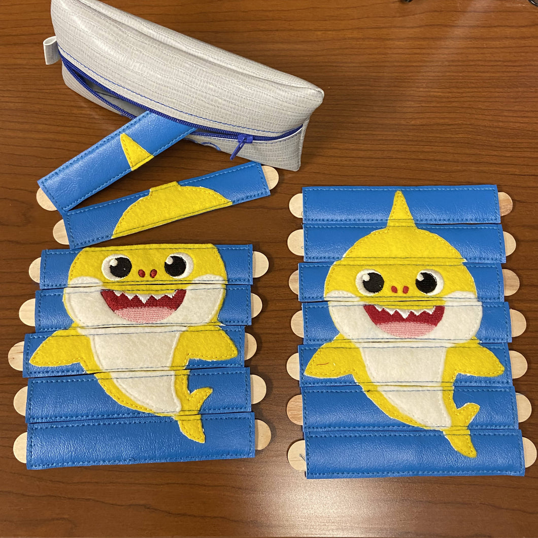 Baby Shark inspired Stick Puzzle with Storage Pouch