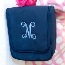 Load image into Gallery viewer, Navy Blue Monogrammed Toiletry Bag