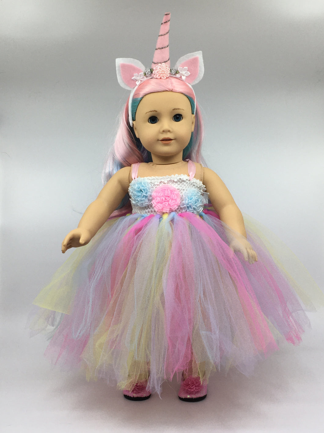 Unicorn Tulle Doll Outfit and Headband