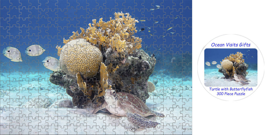 Jigsaw Puzzle 300 Piece` Green Turtle ~ with Butterflyfish
