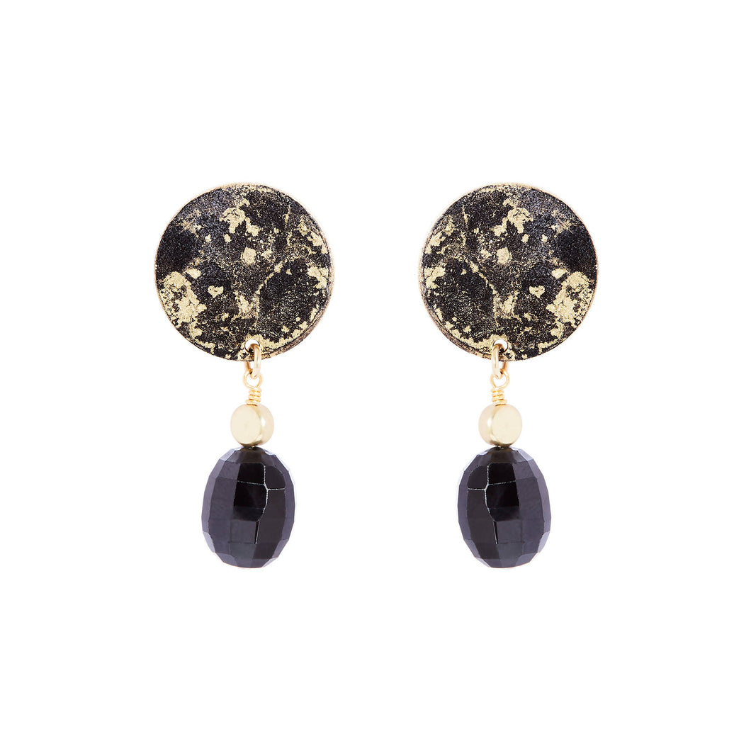 14K Gold Black+Gold Drop Onyx Earrings