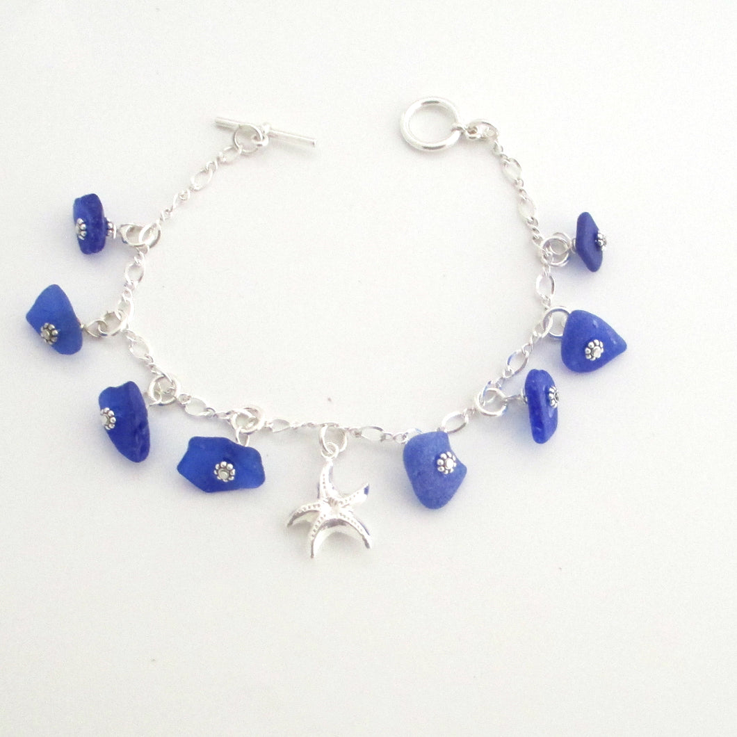 Cobalt Blue Sea Glass and Starfish Dangle Bracelet