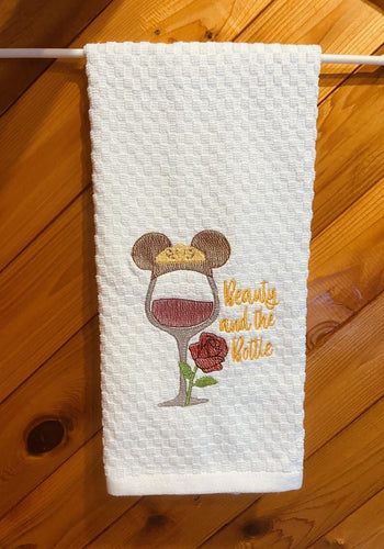 Character Inspired Sketch Wine Glass Kitchen Dish Towels - Artisan Giftmas