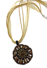 Load image into Gallery viewer, Earth Tones with Topaz Color Crystal Pendant on Ribbon Necklace