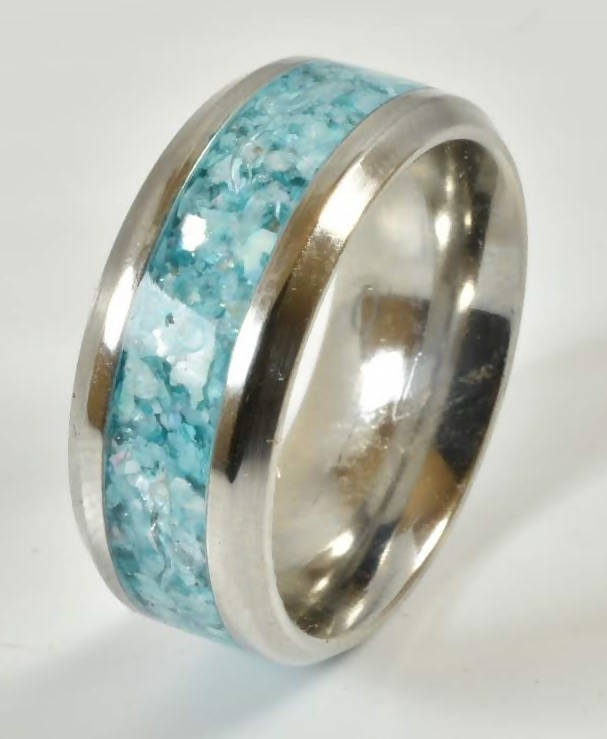 Mother of Pearl & Chrysocolla Inlay Ring