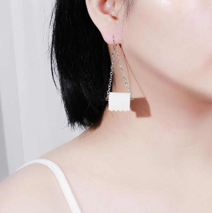 Unique Toilet Paper Shaped Earrings