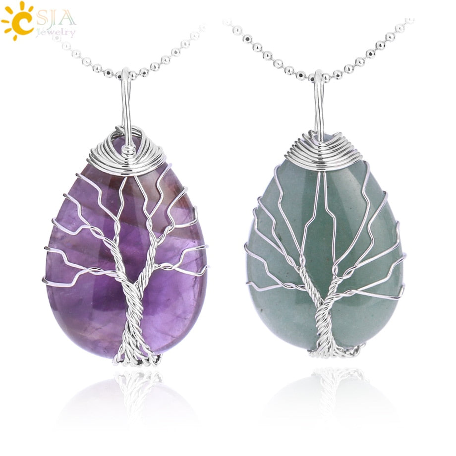 Tree Of Life Natural Stone Pendant Necklace