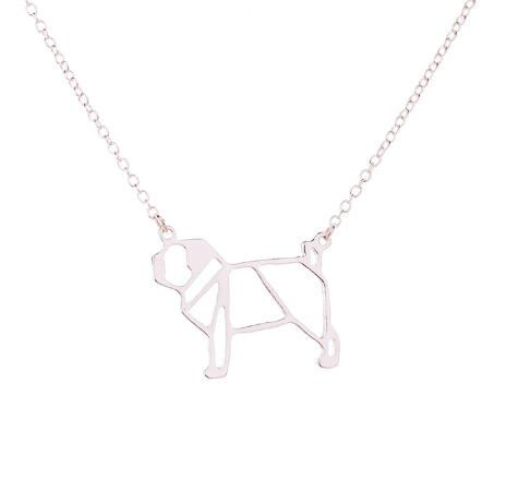 Cute Silver Dog Pendant Necklace