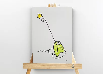 canvas art, frog & star, mini wood easel artwork, inspirational children's illustrations