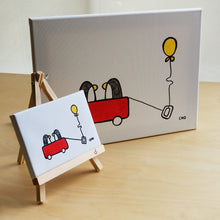 Load image into Gallery viewer, best friends | BFF penguins red wagon | 12x16