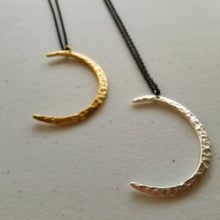 Load image into Gallery viewer, Crescent Moon Necklace Pendant on midnight black chain