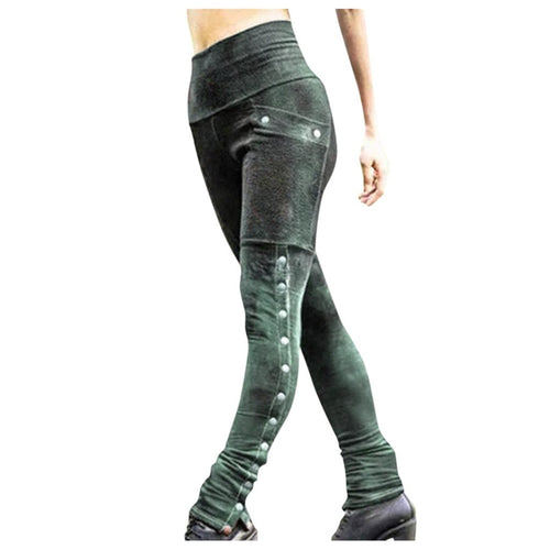 Womens Vintage Patchwork Faux Leather Slim pant with Rivets - Hmlegacy
