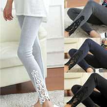 Load image into Gallery viewer, Women's Skinny stretch Jegging with lace crochet, grey