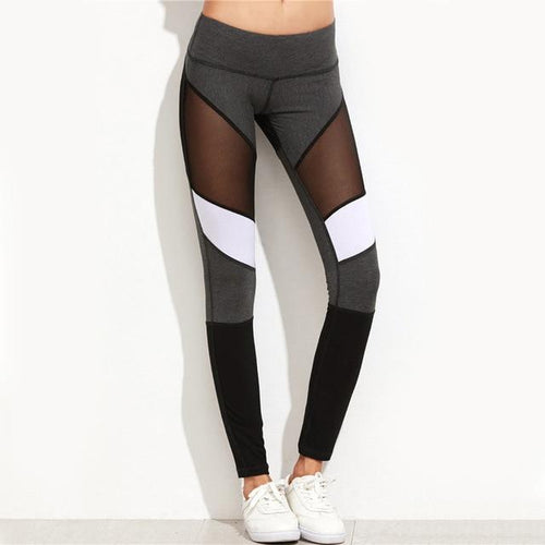 Women's Patchwork Elastic Sport workout, athletic Leggings, black and white