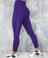Load image into Gallery viewer, High waist, spandex, leggings, with pocket, blue, workout, athletic wear for women