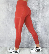 Load image into Gallery viewer, High waist spandex leggings with pocket, red, workout, athletic wear for women