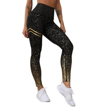 Load image into Gallery viewer, Women's Push up leggings with gold print, black