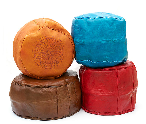 Moroccan Leather Pouffes, Fez Leather Ottomans