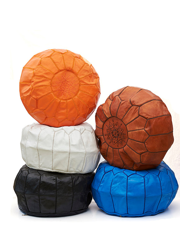 Large Moroccan Leather Pouffe From Marrakech