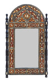 Big Moroccan Bone Inlaid Stamped Metal Mirror