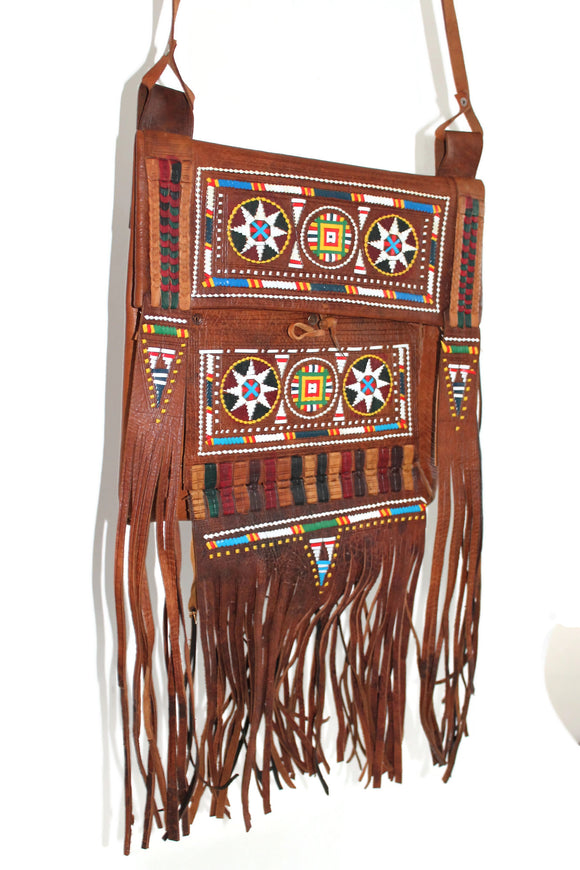 Fringed Moroccan Touareg Leather Bag with Embroidery
