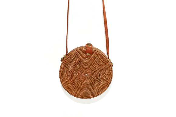 Canteen Style Hand Woven Rattan Purse with Leather Details
