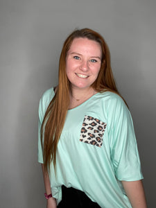 Mint Leopard Pocket Tee