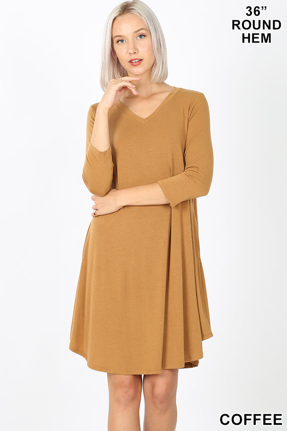 Coffee V-Neck Dress
