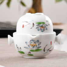 Load image into Gallery viewer, Customize Chinese Kung Fu Tea Set Ceramic Portable Teapot Set Outdoor Travel Gaiwan Tea Cups of Tea Ceremony Teacup Fine Gift