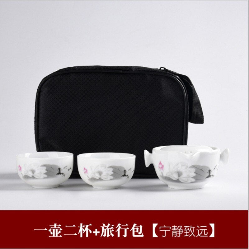 Customize Chinese Kung Fu Tea Set Ceramic Portable Teapot Set Outdoor Travel Gaiwan Tea Cups of Tea Ceremony Teacup Fine Gift