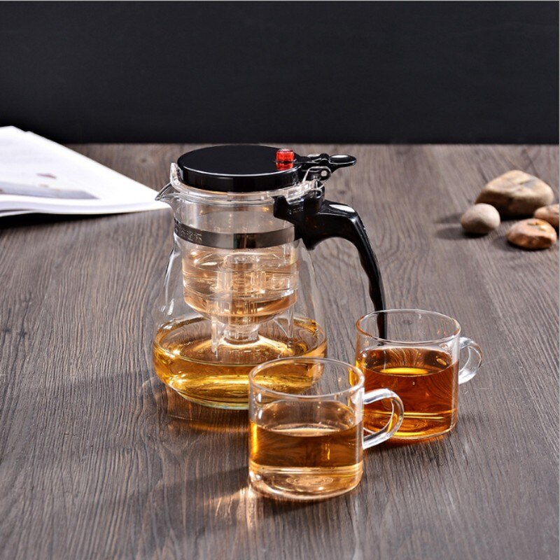 Tea Infuser Tea Pots Heat Resistant Glass Tea Set Chinese Tea Sets Two cups Kettle Coffee Glass Maker Convenient Office Tea Pot