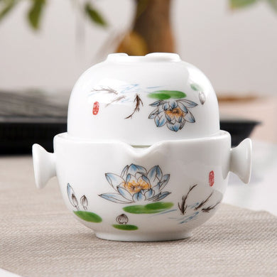 Ceramics Tea set Include 1 Pot 1 Cup, High quality elegant and easy gaiwan,Beautiful and easy teapot kettle,kung fu teaset