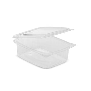 100 x 750cc Clear Cold Food/Salad/Cake Container With Hinged Lid (170mm x 135mm x 55mm) Recyclable rpet
