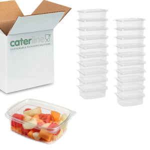 750cc Clear Cold Food/Salad/Cake Container With Hinged Lid (170mm x 135mm x 55mm) Recyclable rpet