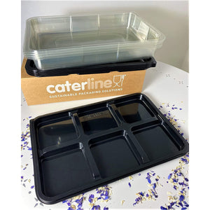 5 x Large, 6 Cavity Platters & Clear Lids- Great For Cream Teas!