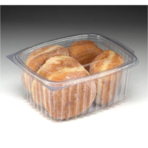 he 1000cc Caterline Food Container is a clear box with a firm clip closure hinged lid to give optimum visibility for your food while maintaing freshness and adding shelf life. The versatile boxes are ideal for individual takeaway salad portions, cakes, biscuits, pasta