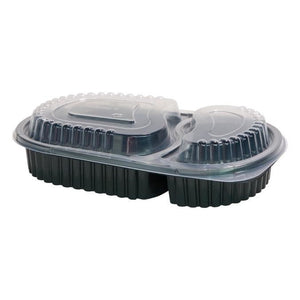 25 x 2 Cavity Microwavable Meal Prep Hot Food Containers with Lid (240mm x 145mm)
