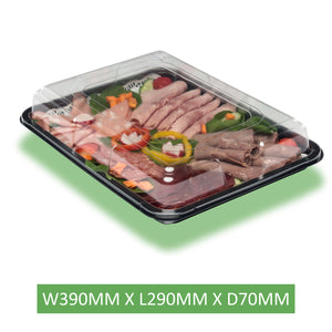 5 x Medium Sandwich / Catering  Platters + Lids / Reusable and Recyclable