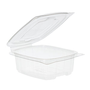 100 x 1000cc Clear Cold Food/Salad/Cake Container With Hinged Lid (170mm x 135mm x 75mm) Recyclable rpet