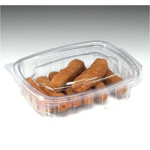 200 x 250cc Clear Cold Food/Salad/Cake Container With Hinged Lid (140mm x 115mm x 35mm) Recyclable rpet