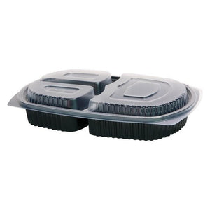 50 x 3 Compartment Microwavable Meal Trays with Lids (260mm x 180mm x 50mm