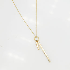 Astro two diamond bar long necklace