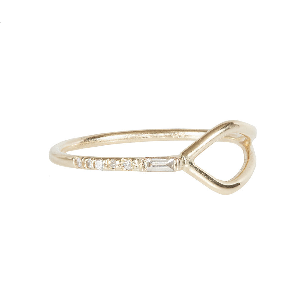 Gravity Baguette diamond Y ring
