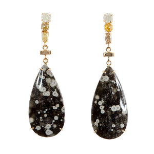 Galaxy Rare cosmic obsidian diamond earrings