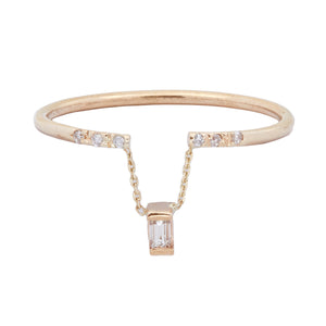 Gravity chain baguette diamond ring