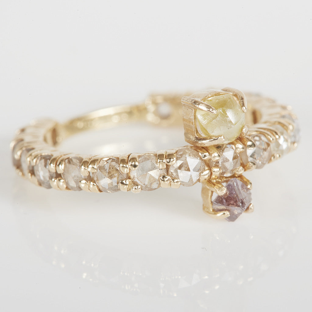 Stardust double rough diamond ring