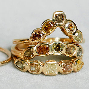 Stardust V multi natural color diamond band
